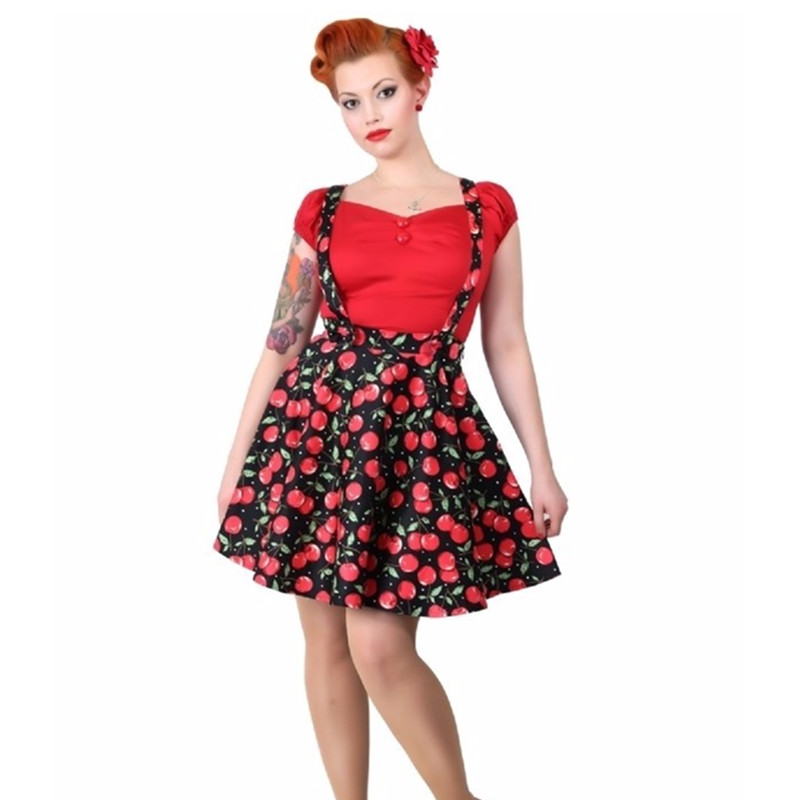 Summer Women Vintage 50s Cherry Print High Waist Swing Suspender