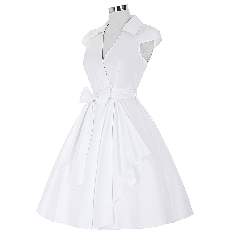 White Knee Length Swing Dress With Bow And Collar