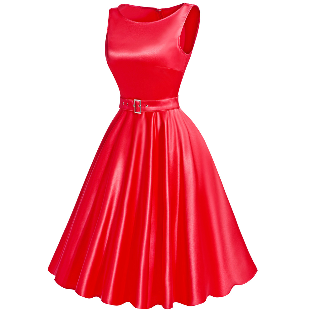 Red Sleeveless A-Line Party Dress
