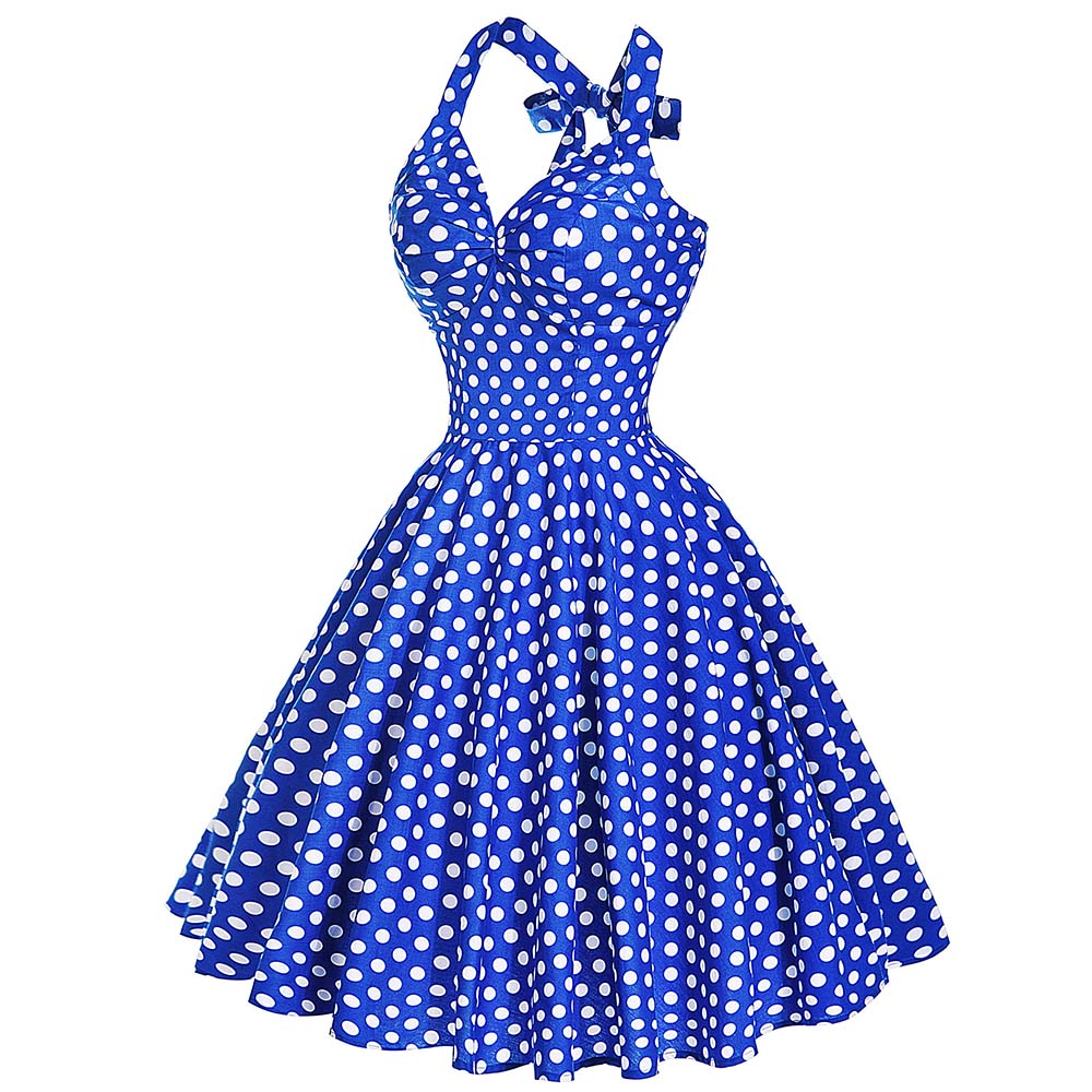 Blue Retro Polka Dot Beach Dress