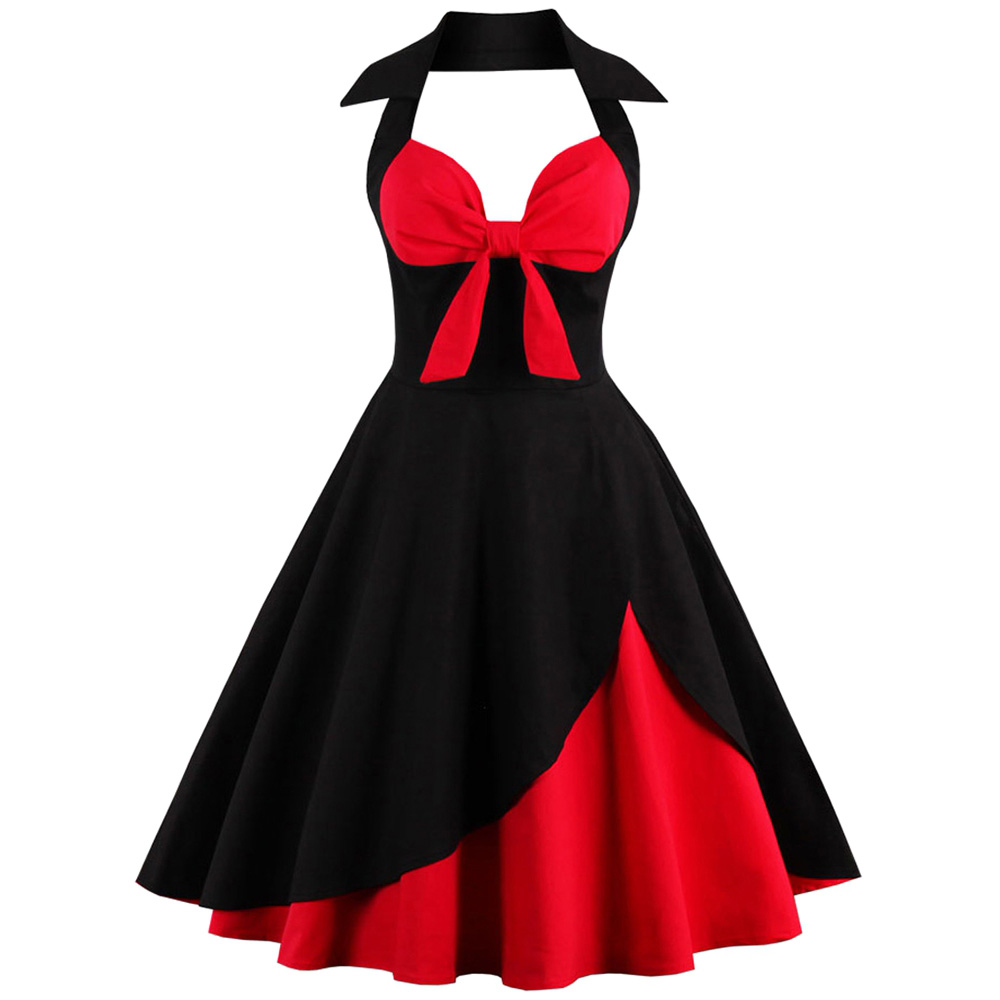 Black And Red Mid-Calf Summer Dres