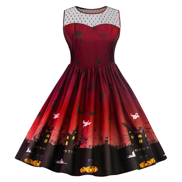 Red Retro Haunted House Swing Dress