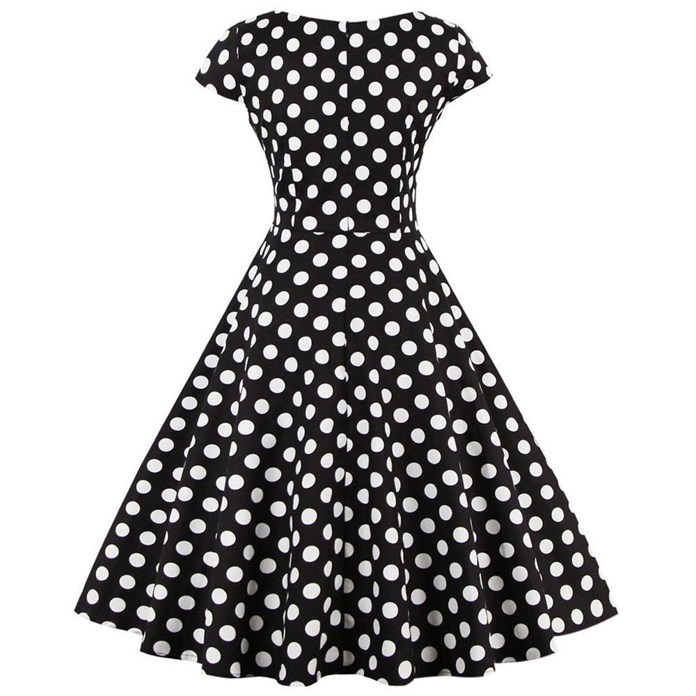 Black With White Polka Dots Swing Dress