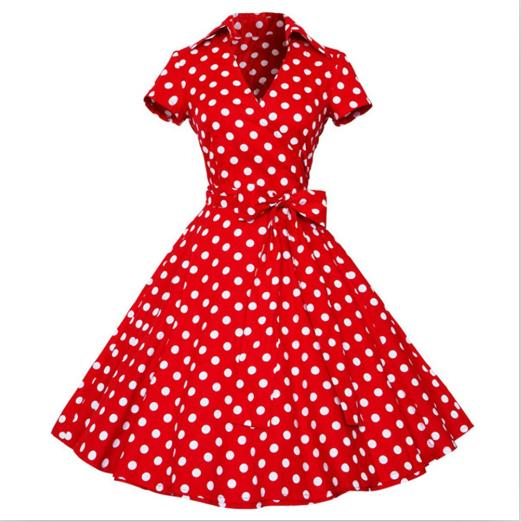Red Polka Dot Swing Dress With Bow