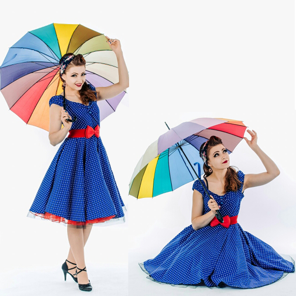 Blue Polka Dot Knee-Length Dress With Red Bow